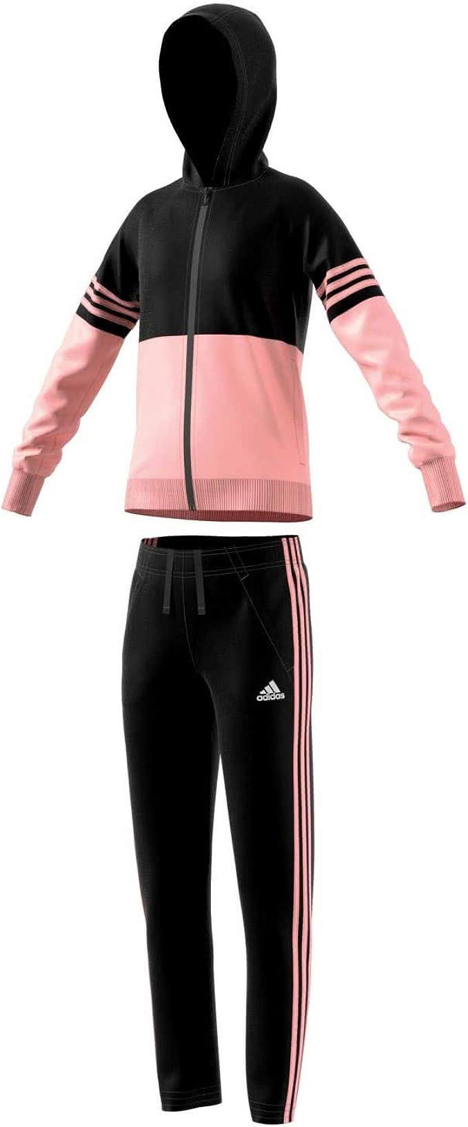 oben Adidas YG Hooded PES, Trainingsanzug Mädchen Adidas YG