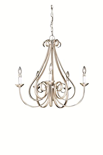 Kichler 2021NI, Dover Candle 1 Tier Chandelier Lighting, 5 Light, 300 Total Watts, Brushed Nickel