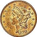 1870 P $20 Liberty Gold Twenty Dollar MS60 PCGS\CAC