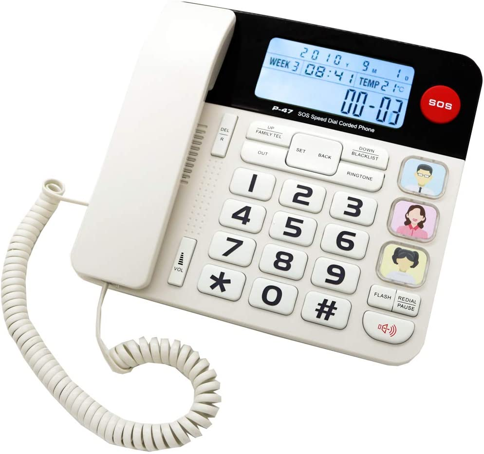 JeKaVis J-P47 SOS Home Corded Phones with Big Button/Caller ID/Light Button, 40dB Amplified Phones for Seniors with Picture Button Support One-Touch Speed Dial