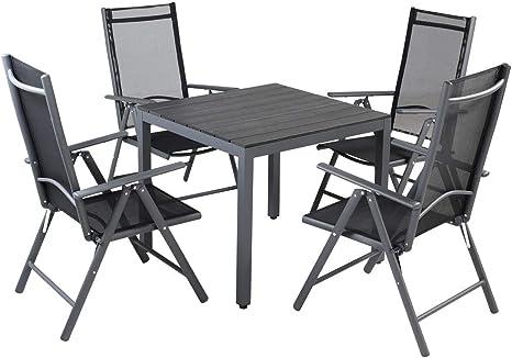 Casaria Tavolo E Sedie Da Giardino Alluminio 4 Seggiole Pieghevoli 1 Tavolo Wpc 80x80 Cm Mobili Esterno Grigio Amazon It Giardino E Giardinaggio