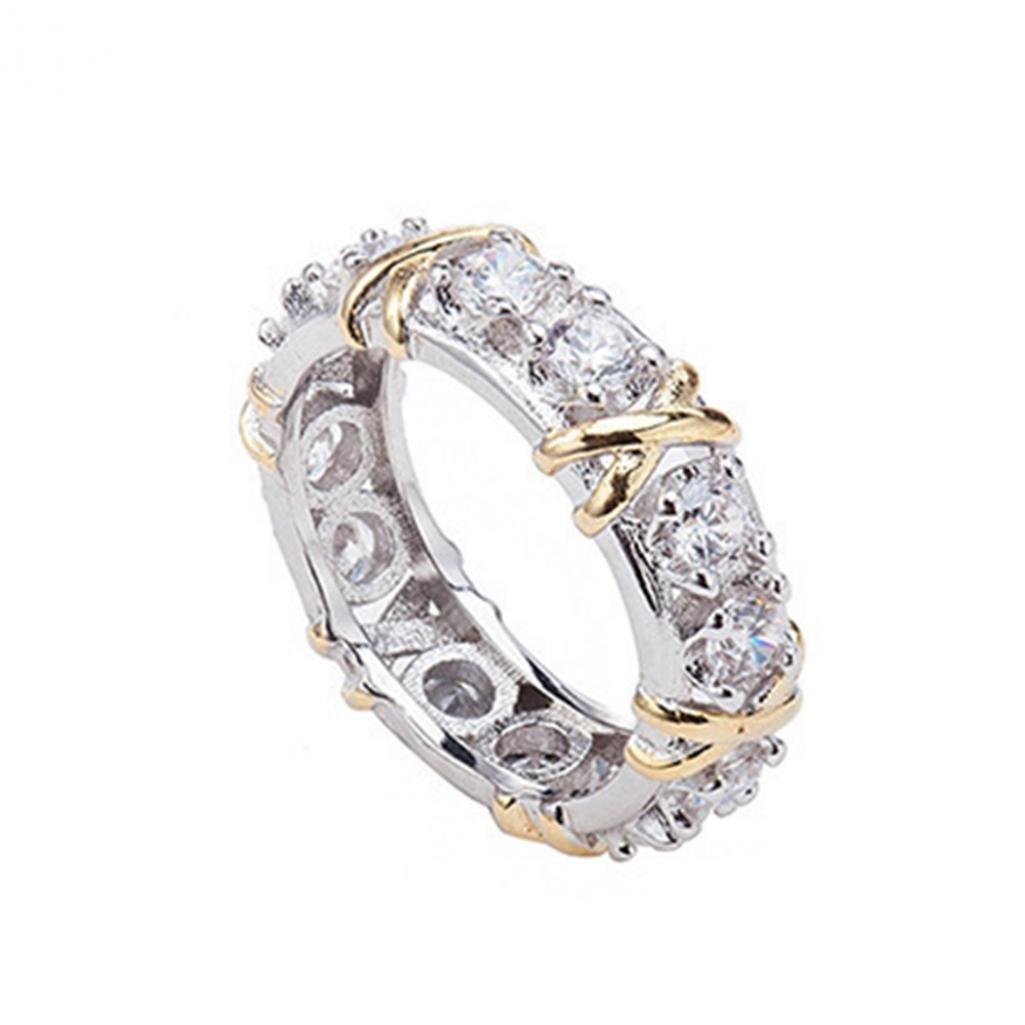 Fashion completa zirconi CZ croce placcato oro bianco anello signora wedding Jewelry Amesii 22 colore: US 10 cod. AME