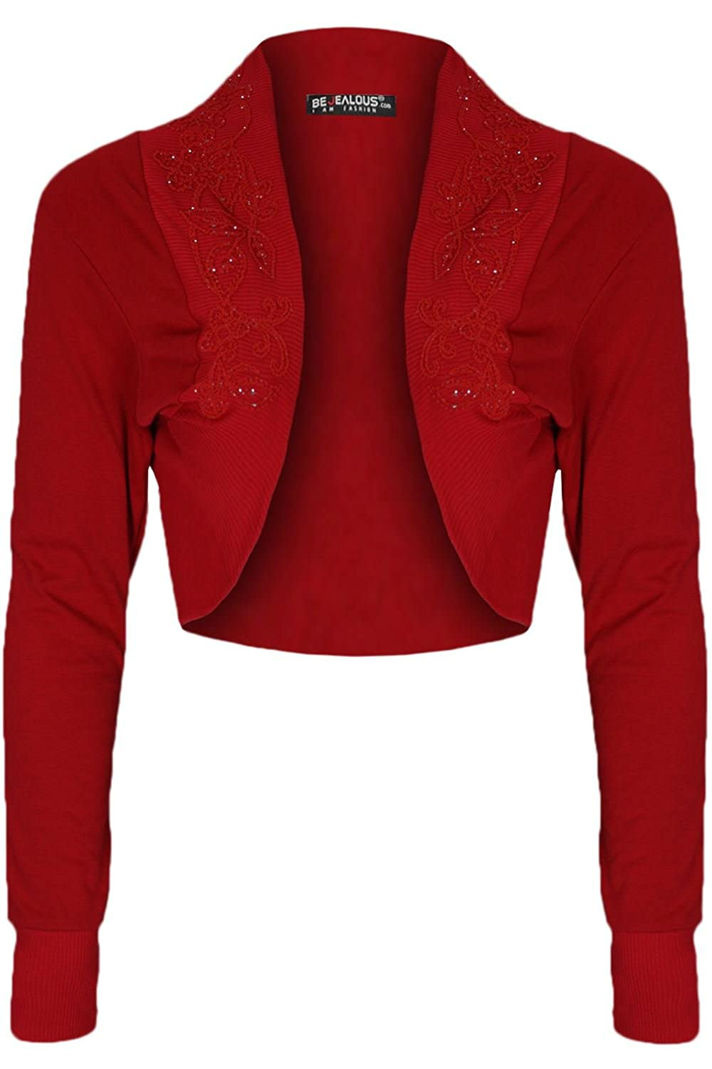 Womens Ladies Diamantes Beaded Studded Stretchy Cotton Bolero Cardigan Shrug Crop Cropped Top BE JEALOUS