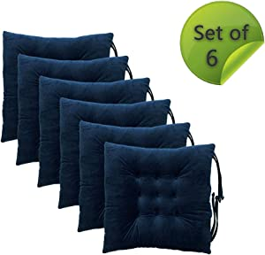 Comfy Soft Chair Pads Seat Cushions Cover with Ties for Dining Chairs, Office Chairs, Sofa Patio Furniture Carpeted Floors, Hardwood Floors,15.5x15.5 Inch, Polyester Chair Cushions Set of 6, Navy Blue