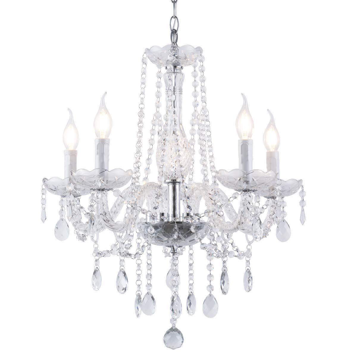 Riomasee Crystal Chandelier Modern Elegant Decoration K9 Crystal Candle Ceiling Light Hanging Fixture for Living Room, Dining Room, Bedroom, Hotel 5-Light W22.44 x H22.44