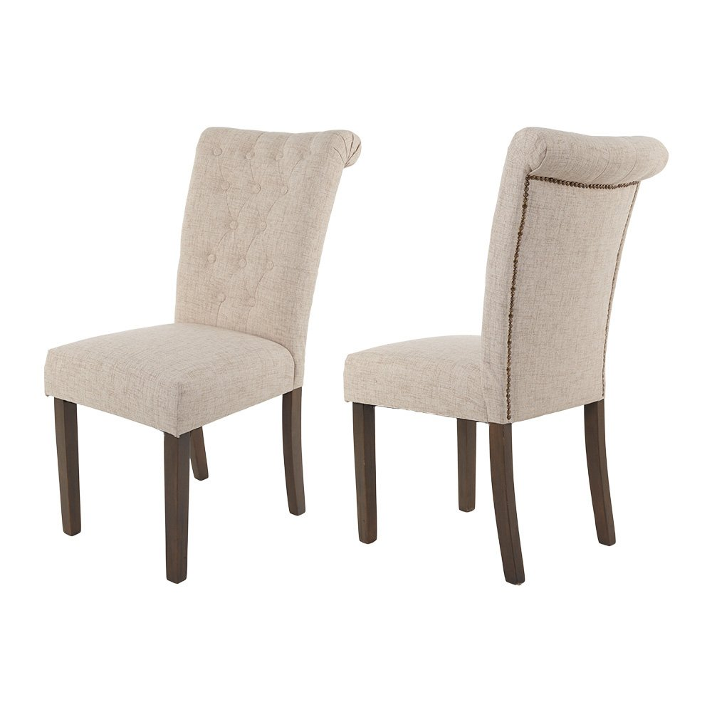 28cbf05f206c Amazon.com: Merax Luxurious Tufted Fabric Upholstered Dining Chairs with  Solid Wood Legs Dinning Room Chair Set of 2 (Beige): Kitchen & Dining