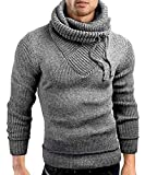 Male Stand Cowl Neck Sweater Ribbed Long Sleeve Turtleneck Pullover Knitted Sweater with Drawstring Gray