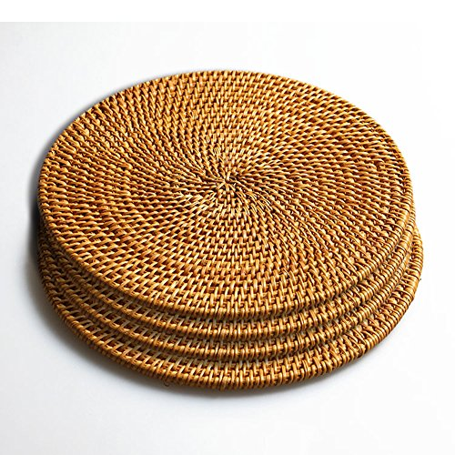 Hand Woven Rattan Pot Holder,Non Slip,Durable, Heat Resistant Hot Pads Perfect Modern Home Decor Heat Resistant Coasters Cup Insulation Mat (4Piece, 7.08 inch) (Paint Rattan)