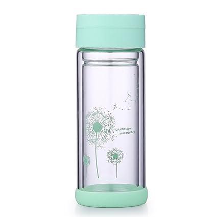 Desconocido Botella de Agua Potable de Vidrio Doble Pared borosilicato té Taza Thermos THUMBLER con una