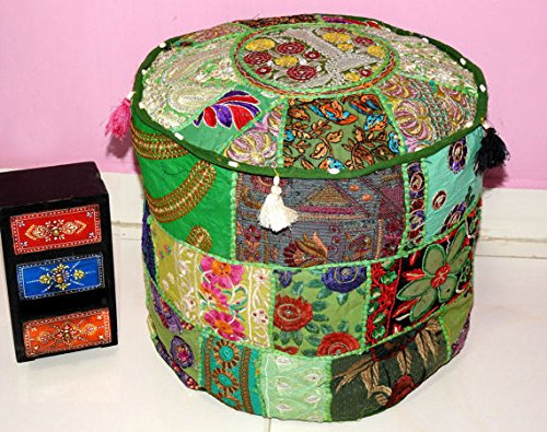 Beautiful HANDMADE Green Christmas Decorative Bohemian Ottoman Patchwork Ottoman Indian Embroidered Indian Vintage Cotton Round Pouf Foot Stool , Vintage Ottoman Bohemian Decor (Cover Only) by GANESHAM