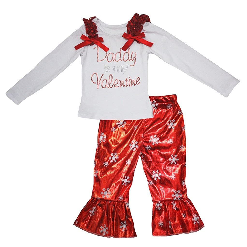 Petitebella Daddy is Valentine White Cotton L//s Shirt Red Snowflakes Pant 1-8y