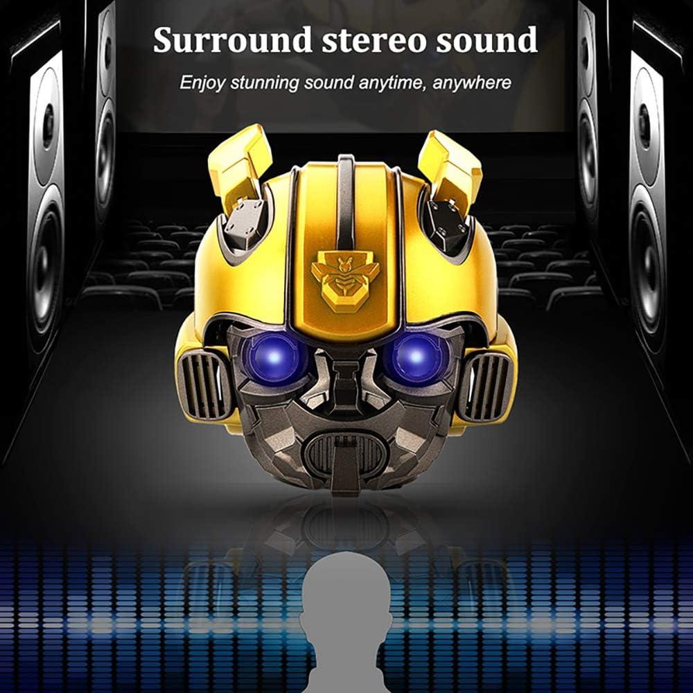 Bumble Yellow Transformer Bee Helmet Bluetooth 5.0 Speaker Fm Radio USB Mp3 TF Smart Subwoofer Portable Wireless Loudspeaker LED Flashing Light BT Mini Transformers Speaker