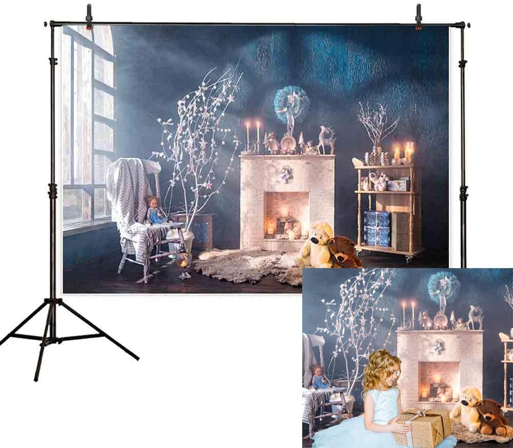 Allenjoy 7x5ft Winter backdrops for Photography Blue Style Indoor Stove Chair Bear White Pine Branch Window Gift Background