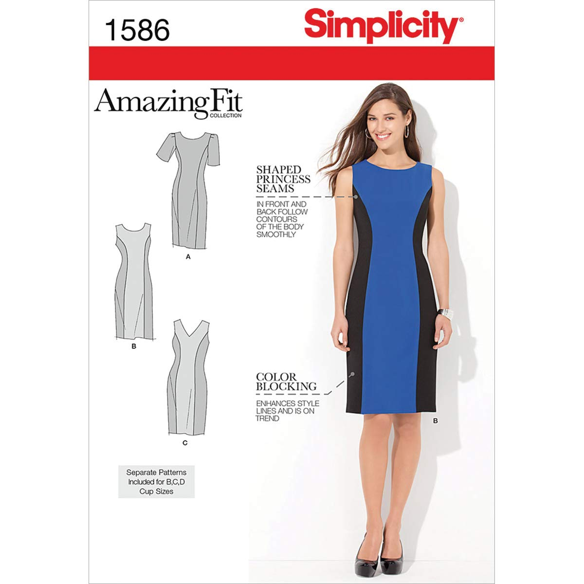 70276fbb3 Simplicity Sewing Pattern 1586: Misses' and Plus Amazing Fit Dress, Size  AA, Paper White, (10-12-14-16-18): Amazon.co.uk: Kitchen & Home