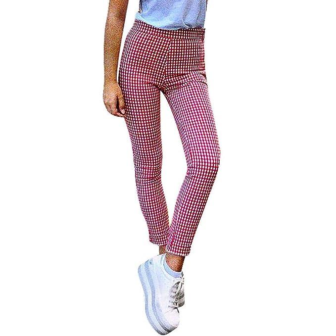 Pantalones para Mujer Casual Cintura Alta Estampado Cuadros Pantalones de  Pinza Uniformes de Trabajo Suelto con cinturón Elástica señora Gusspower   ... 1627e93dd879