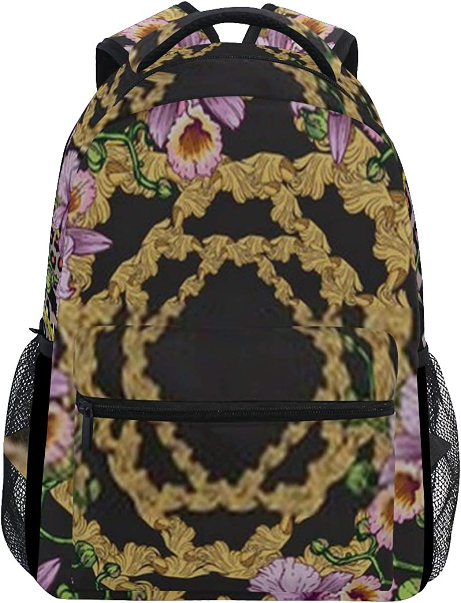 Backpack Bag Shawl Pattern Orchids On Dark Background Backpack For Women Waterproof Casual Daypacks For Young Girls