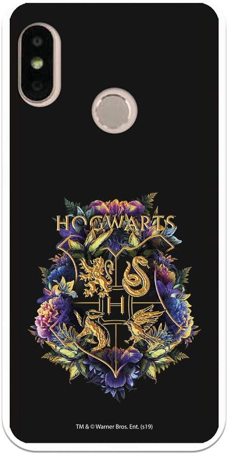 Funda para Xiaomi Mi A2 Lite - Redmi 6 Pro Oficial de Harry Potter Hogwarts Floral para Proteger tu móvil. Carcasa para Xiaomi de Silicona Flexible con Licencia Oficial de Harry Potter.