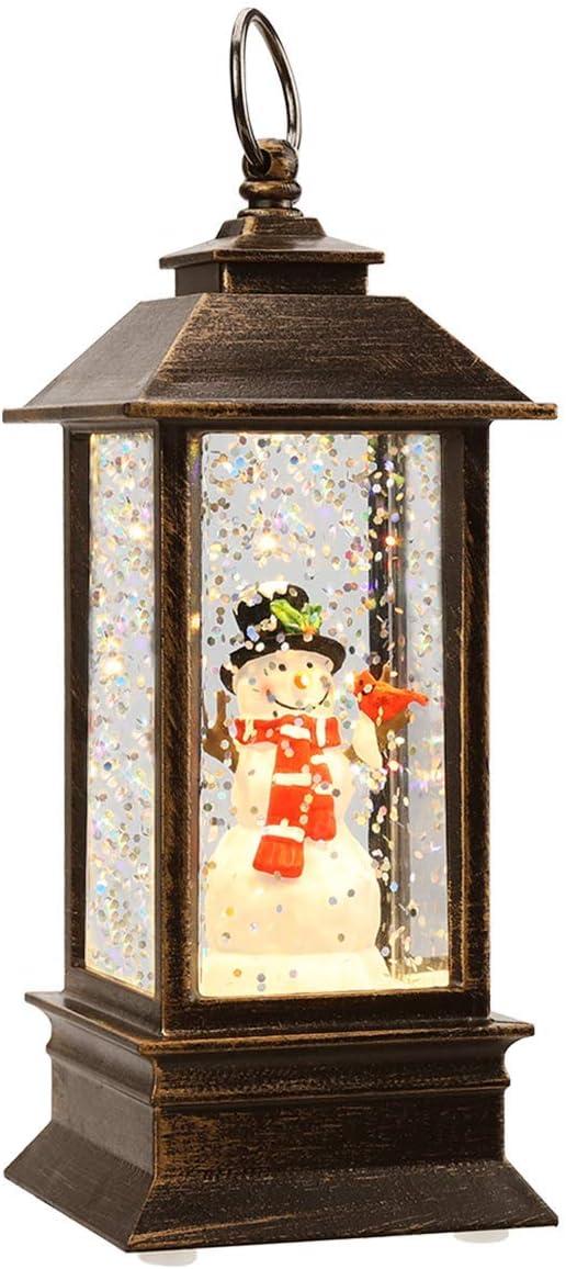 JEDAWN Mini Lantern Christmas Lanterns Decorative Christmas Tree Home Decoration,Lighted Christmas Crystal Glass Snowballs Night Light Christmas Holidays