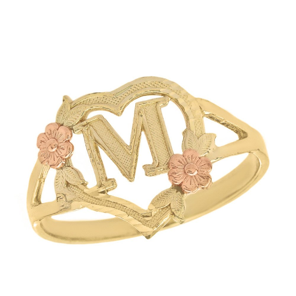 CaliRoseJewelry 14k Two-Tone Initial Alphabet Personalized Heart Ring in Yellow and Rose Gold (Size 7.75) - Letter M