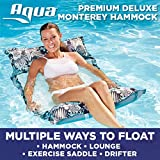 Aqua Deluxe Monterey Hammock, 4-in1- Multi-Purpose Inflatable Pool Float, Portable, Removable Pillows, Carry Bag, Premium Fabric, Fade, & Stain Resistant, Antigua Blue