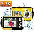Waterproof Camera Underwater Camera Full HD 2.7K 48MP Waterproof Digital Camera for Snorkeling 16X Digital Zoom Point and Shoot Selfie Dual Screen