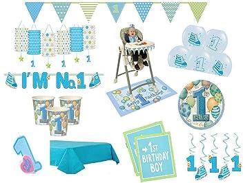 Xxl Party Deko Set 1 Geburtstag Junge Blau 52 Teilig