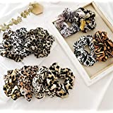 Cheetah Scrunchies for Hair 11pcs Hair Scrunchies Pack Fashion Leopard Chiffon Scrunchie Holder Ponytail Elastic Hair…