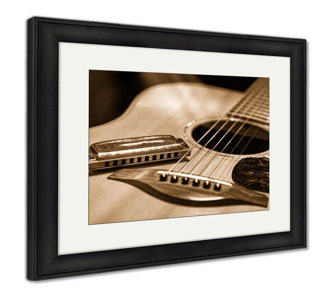 Ashleyフレームプリント、アコースティックギターwith Blues Harmonica国 34