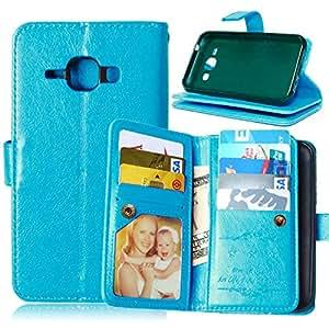CaseMa-EU Funda de Carcasa PU Cuero Billetera Case Cover para Samsung Galaxy J1 J100 (Azul DK1)