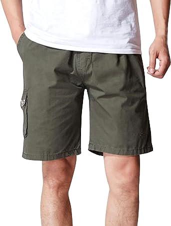CardanWolf - Pantalones Cortos Hombre Multibolsillos de Algodón ...