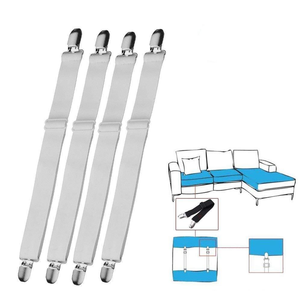 Joseche - Bretelle elasticizzate regolabili per angoli lenzuola, coprimaterassi, letto o divano, colore: nero White [4PCS]