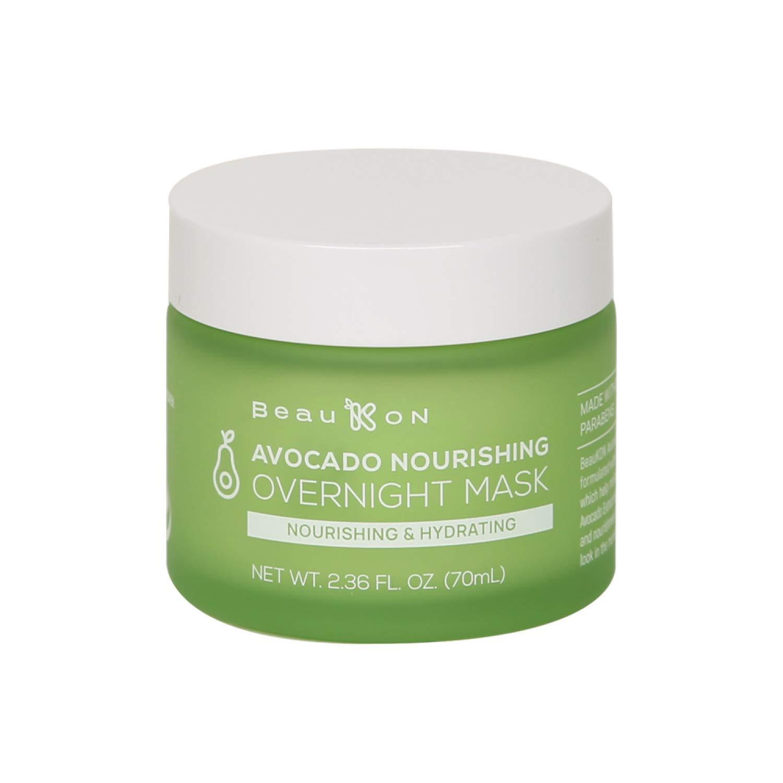 BeauKON Avocado Nourishing Overnight Mask, Hydrating and Moisturizing Sleeping Mask, Plump and Supple Skin, All Skin Types (2.36 Oz)