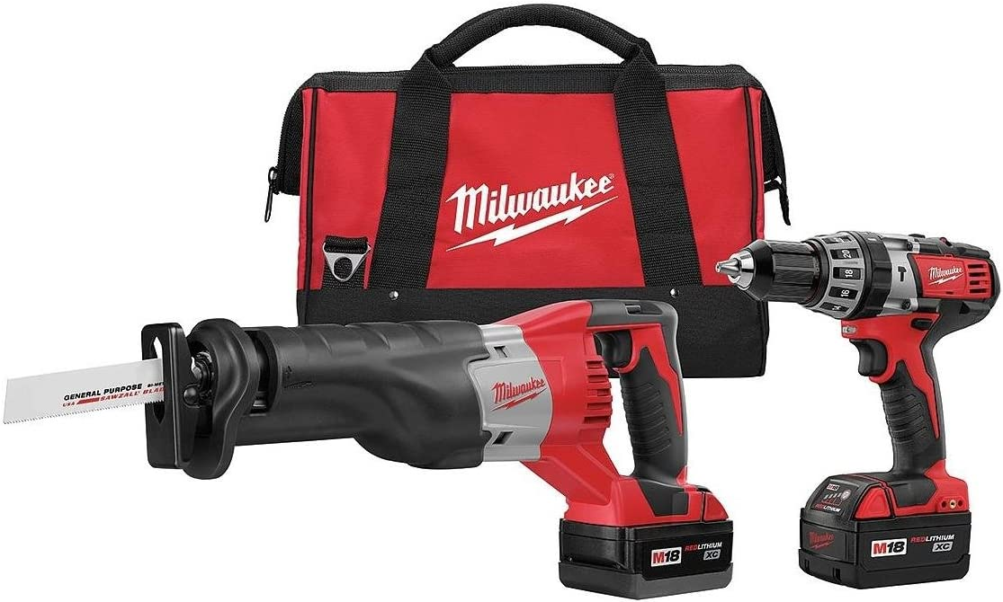 Milwaukee 2694-22 M18 18-Volt Lithium-Ion Cordless Hammer Drill Sawzall Combo Kit 2-Tool