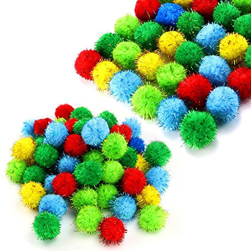 TKOnline 100 Piece Assorted Color Sparkle Balls Glitter Tinsel Balls My Cat's All Time Favorite Toy Pom Ball for Cat…