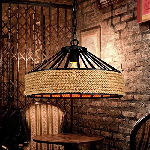 ZY Luminaire suspendu réglable ancien, fini bronze huilé, abat-jour de plafond en corde tissée