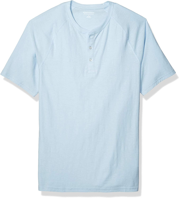 Essentials Men's Slim-fit Short-Sleeve Slub Henley T-Shirt: Clothing