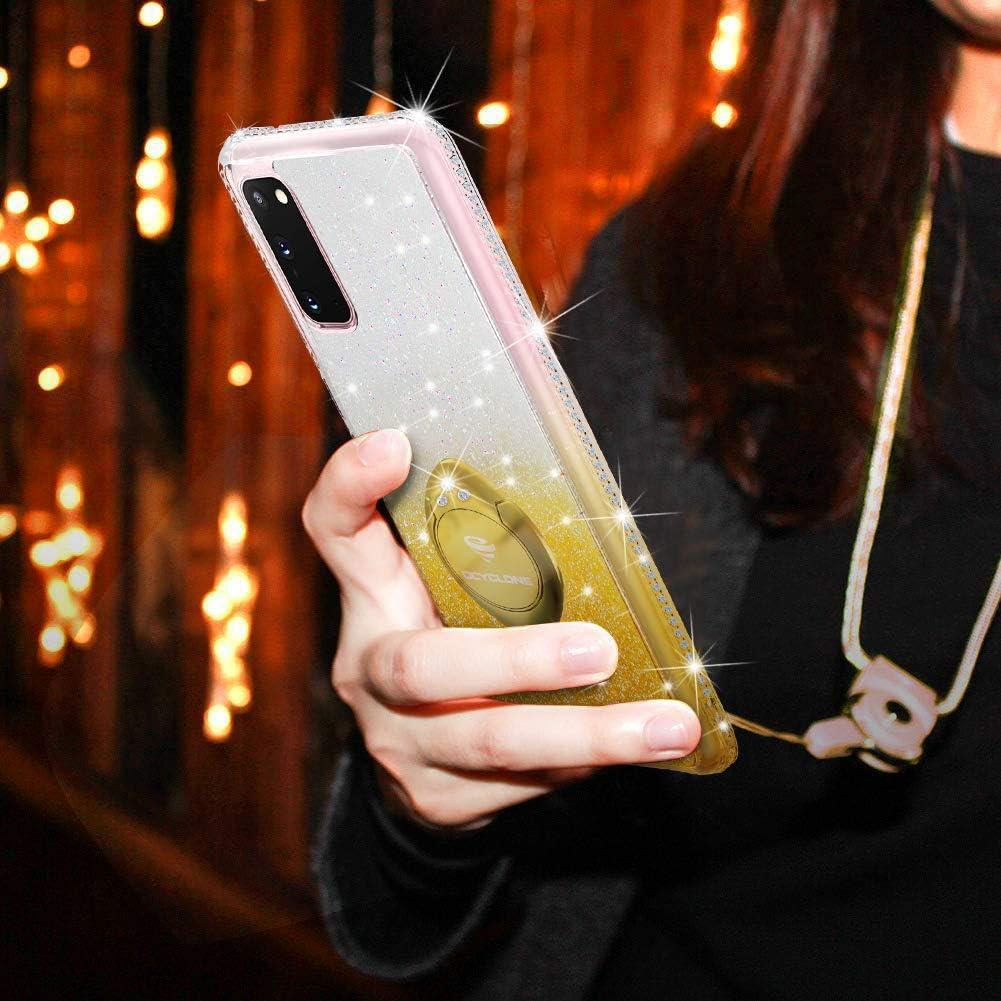 OCYCLONE Funda Galaxy S20 Ultra Rosa Glitter Diamante Ultra Delgada TPU Carcasa con Anillo Kickstand de 360 y Cordon Brillante Cover Protectora para Samsung Galaxy S20 Ultra
