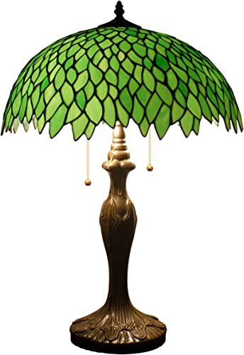 Tiffany Style Table Lamp Stained Glass Bedside Desk Light W16H24 Inch Tall Green Wisteria Lampshade Antique Base S523 WERFACTORY LAMPS Lover Parent Friend Kid Living Room Bedroom Coffee Bar Craft Gift