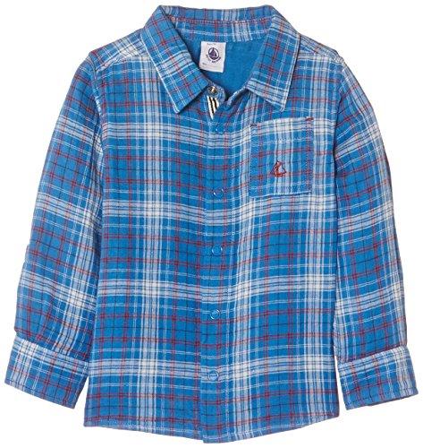 - Petit Bateau Plaid Button Down Shirt (Toddler/Kid) - Royal Blue-6 Years