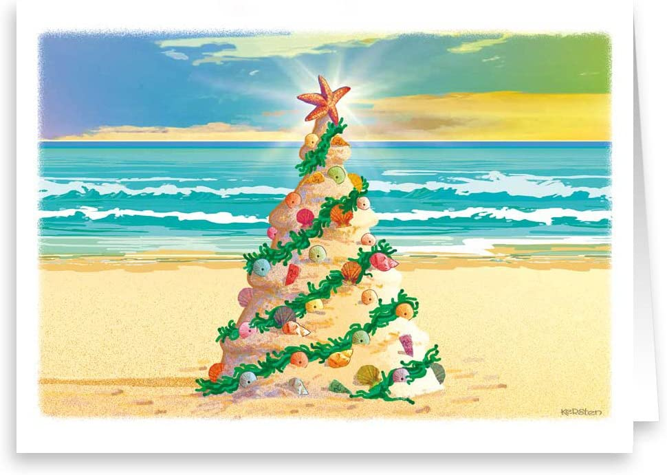 Amazon Com Beach Christmas Tree Beach Theme Christmas Card 18 Cards Envelopes Health Personal Care