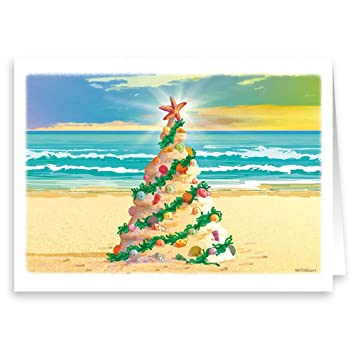 Beach Christmas Cards >> Amazon Com Beach Christmas Tree Beach Theme Christmas Card 18