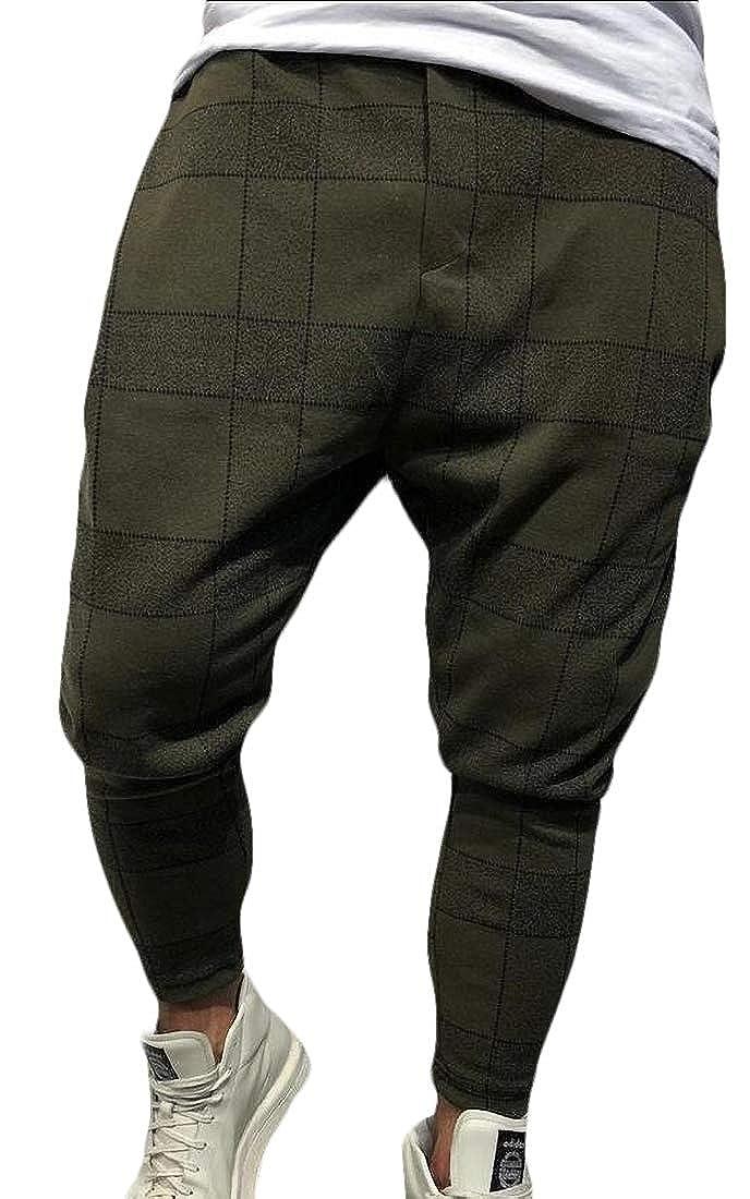 Mens Loose Plaid Joggers Track Pants Ankle Strap Stretch Pants