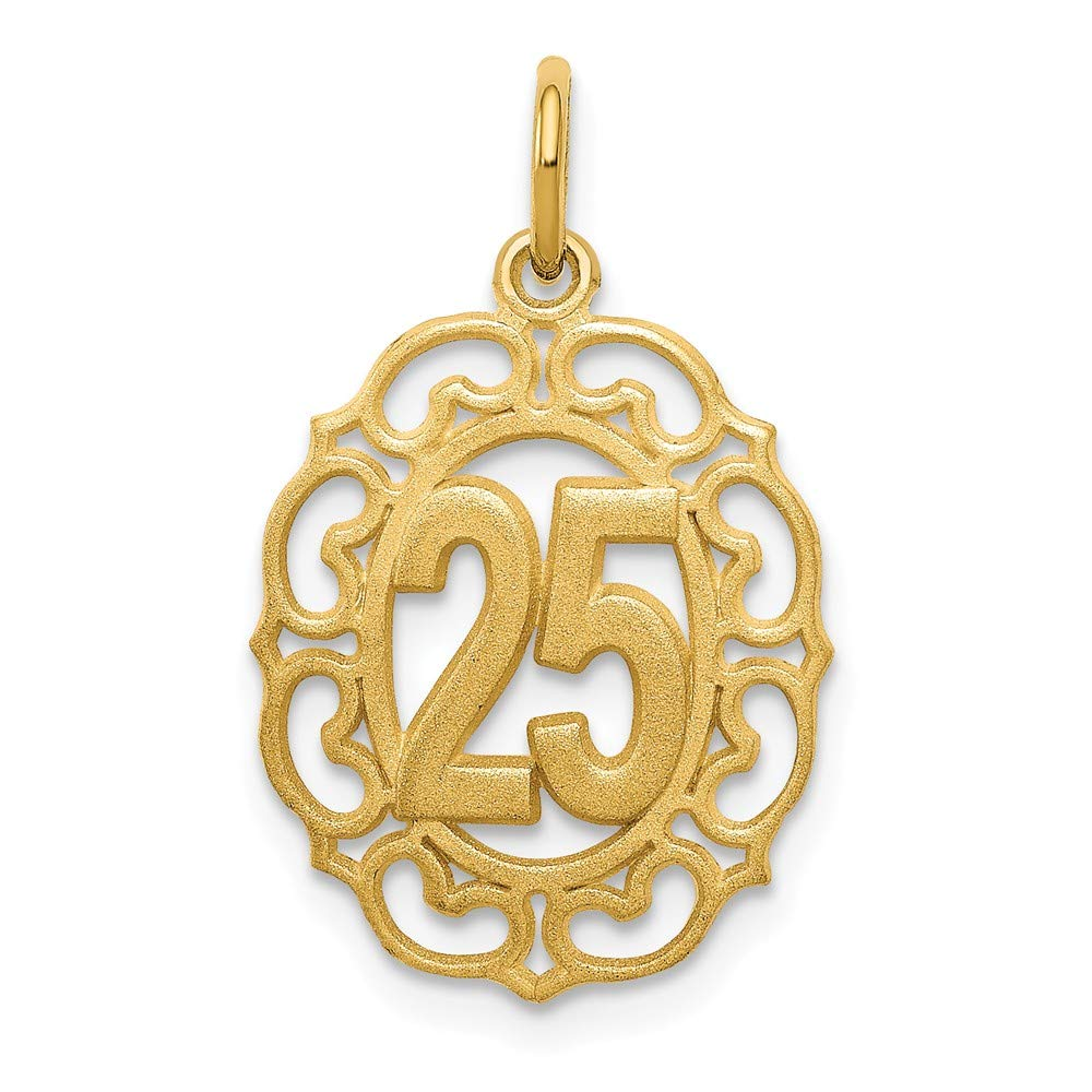 14k Yellow Gold 25 in Oval Pendant 25mm Length