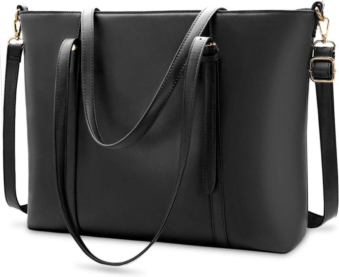Laptop Bag for Women Lightweight Leather Work Tote Waterproof Business Office School Computer Bag for 15.6 Inch Laptop & Tablet Professional Large Capacity Briefcase Handbag Shoulder Bag Black