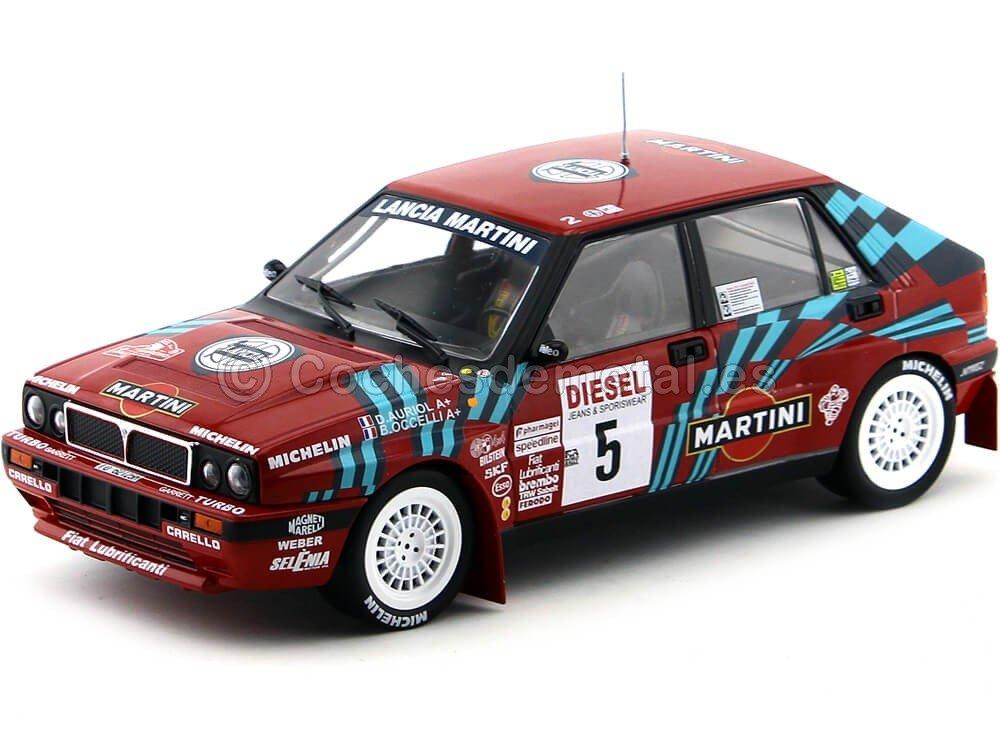 Triple 9 – Vehículo – Lancia Delta HF Integrale – Rally San Remo 1989, T9 – 1800170, Rojo/Azul, (Escala 1/18