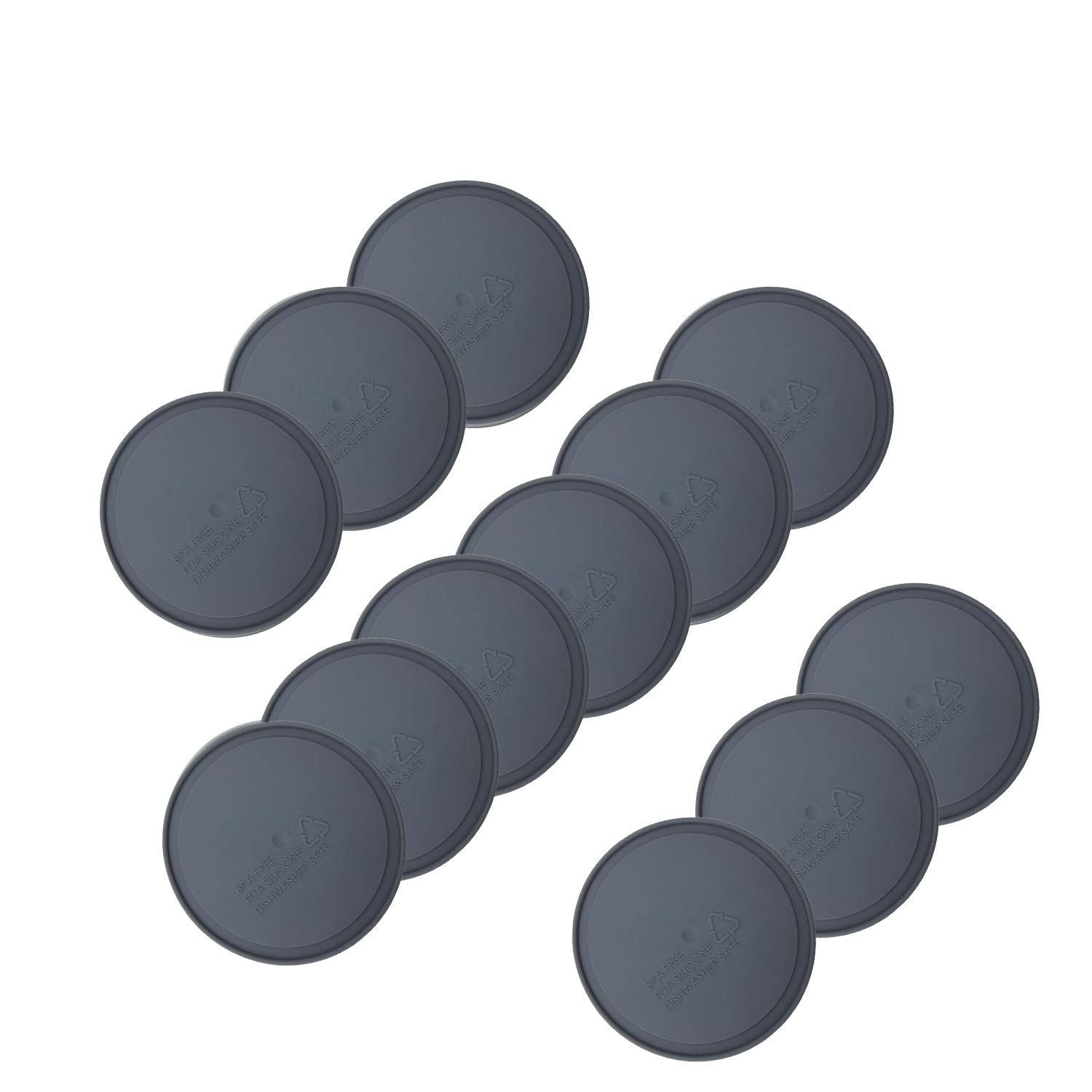 THINKCHANCES Leak Proof Food Safe and BPA Free Silicone Sealing Lid Inserts Liners for Mason, Ball, Canning Jars (Wide Mouth, Grey)