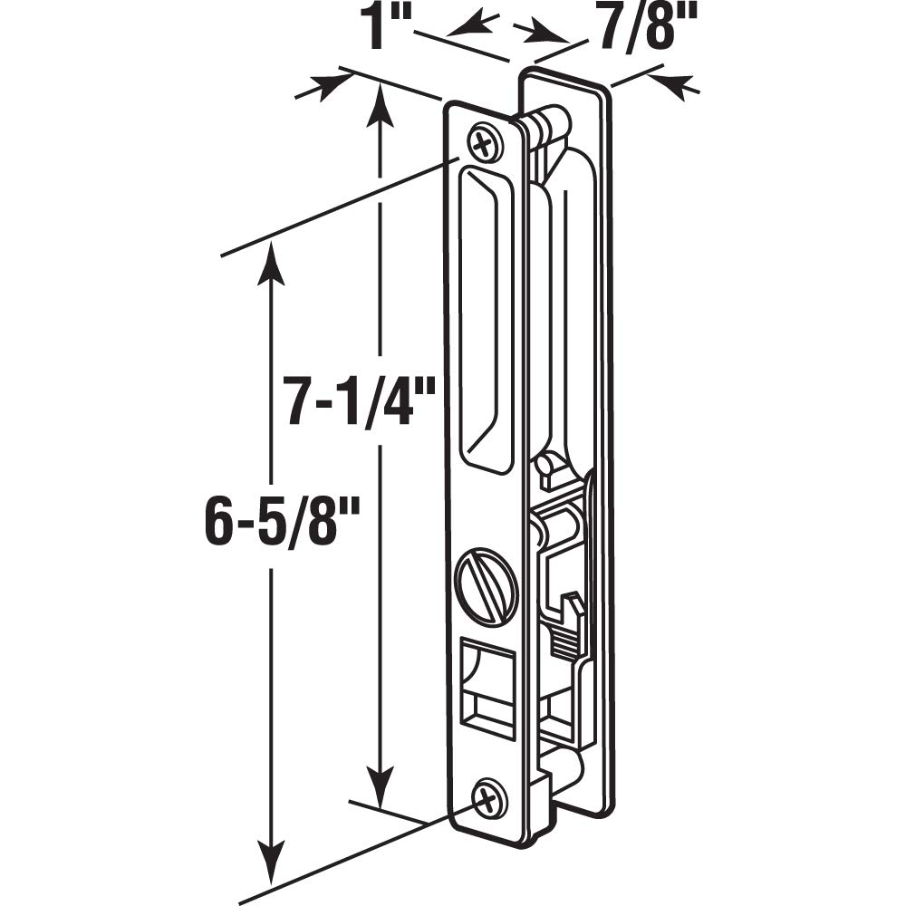 1 Set Prime-Line Products C 1215 6-5//8 in Sliding Door Handle Set Diecast Chrome Flush Mount Hook Style