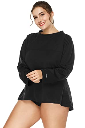 46d547d4a26 Vegatos Womens Long Sleeve UPF Swimwear Lose Fit UV Bathing Suit Rashguard  Top Black
