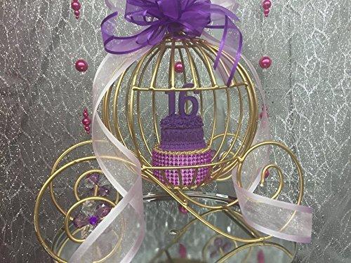 Sweet 16 Gold Cinderella Plain Carriage Cake Topper Centerpiece (Gold Carriage Centerpiece)