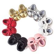 BOBORA Baby Girls Soft Soled Tassel Bowknots Crib Infant Toddler Prewalker Moccasins Shoes (12-18 Months, Gold)
